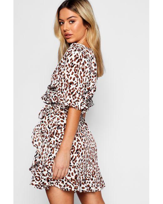 fdbe678fc607 ... Boohoo - Multicolor Petite Leopard Print Ruffle Wrap Dress - Lyst