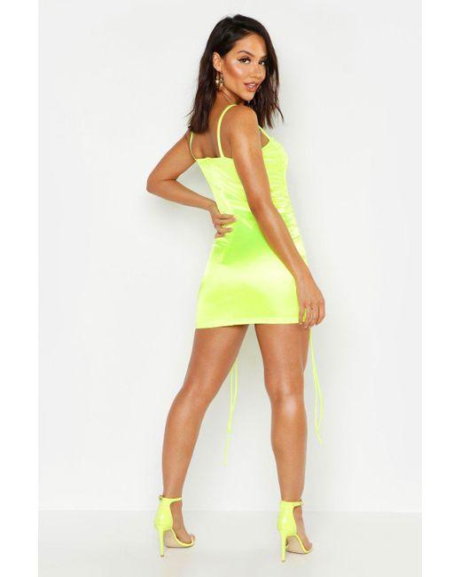 eabc205e28 ... Boohoo - Multicolor Strappy Stretch Satin Ruched Mini Dress - Lyst