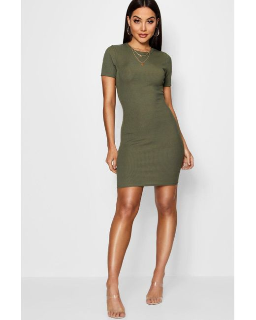 e41937e270a Boohoo - Multicolor Basic Rib Crew Bodycon Dress - Lyst ...