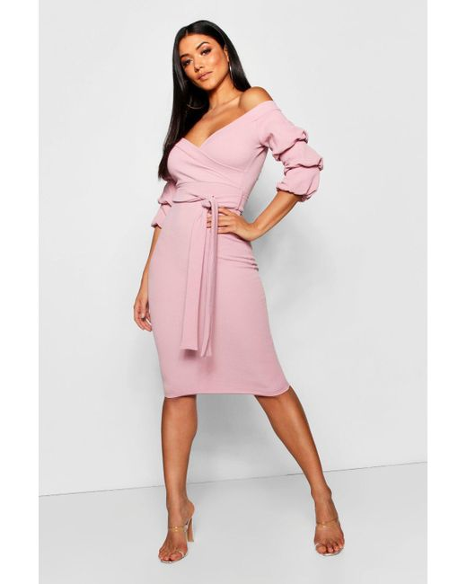 d78954398bd Boohoo Off The Shoulder Sleeve Detail Midi Dress in Pink - Save 25 ...