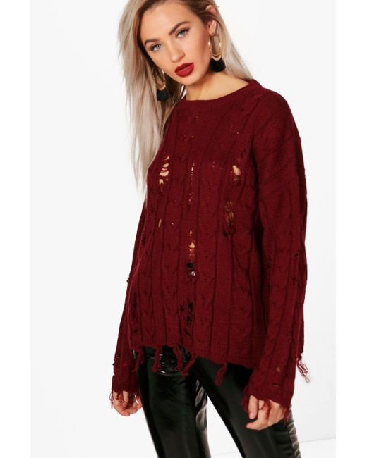 Boohoo - Red Holly Distressed Cable Jumper - Lyst