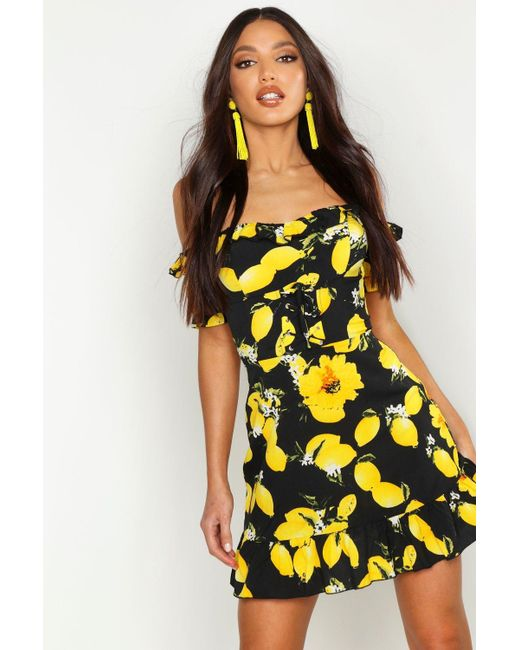 185f6b65c666 Boohoo - Yellow Off The Shoulder Lemon Print Mini Dress - Lyst ...