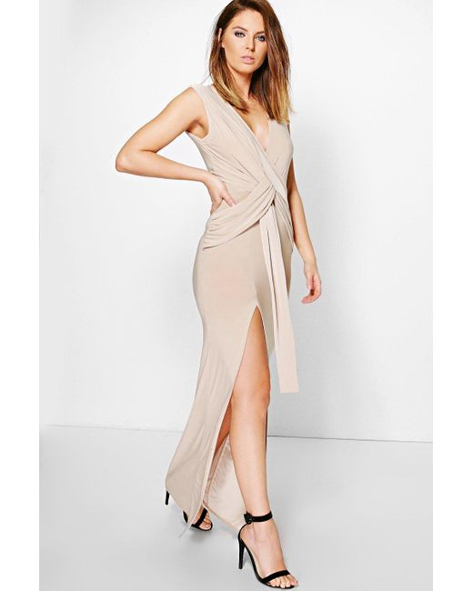 Boohoo | Natural Hana Slinky Plunge Wrap Tie Maxi Dress | Lyst