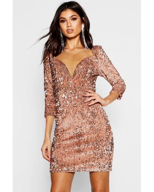 6e3183c7e552 Boohoo - Multicolor Sequin Bodycon Dress - Lyst ...