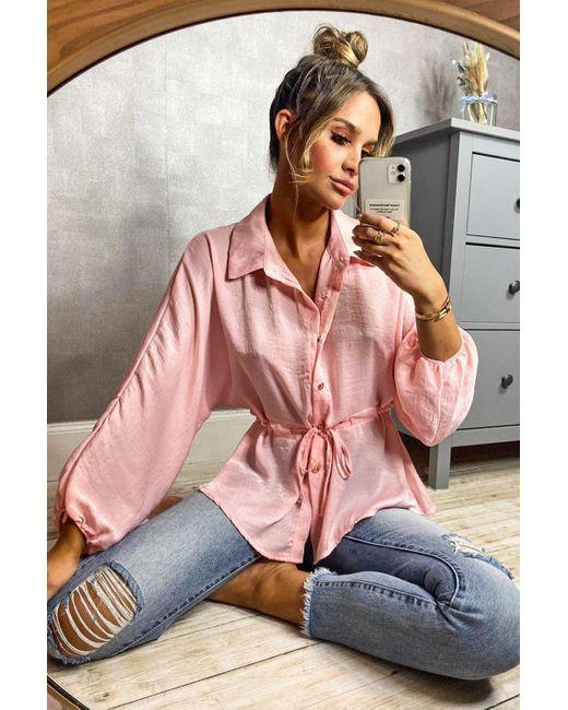 Blusa De Satén Con Fruncido En La Cintura Boohoo de color Pink