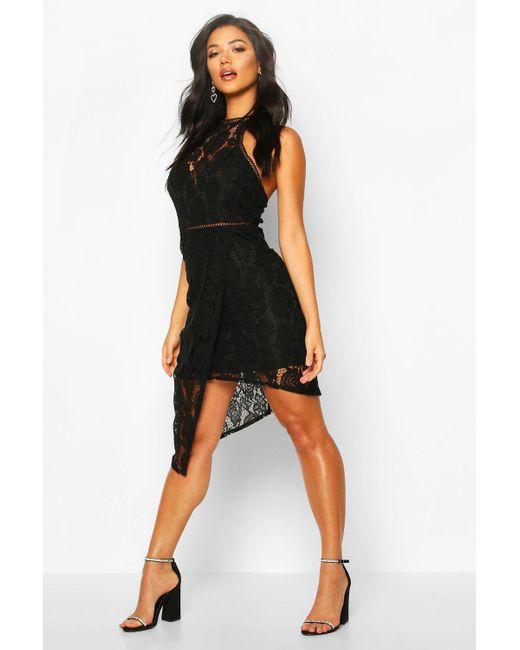 Boohoo Black Womens High Neck Lattice Trim Asymmetric Mini Dress