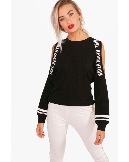 Boohoo | Black Jane Cold Shoulder Slogan T-shirt | Lyst