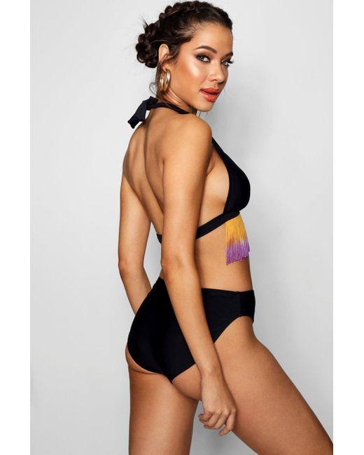 de2b1bdf6c ... Boohoo - Black Paris Halterneck Ombre Tassel Bikini - Lyst ...