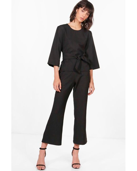 Boohoo - Black Premium Pia Tie Front Top And Flare Trouser - Lyst