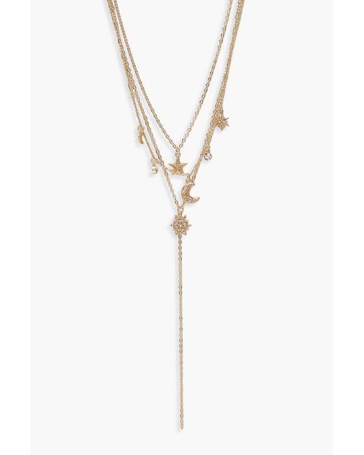 Boohoo - Metallic Moon & Stars Layered Plunge Necklace - Lyst