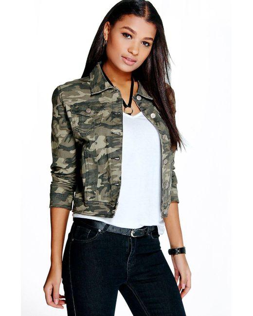 Lyst Boohoo Ally Camouflage Denim Jacket In Green