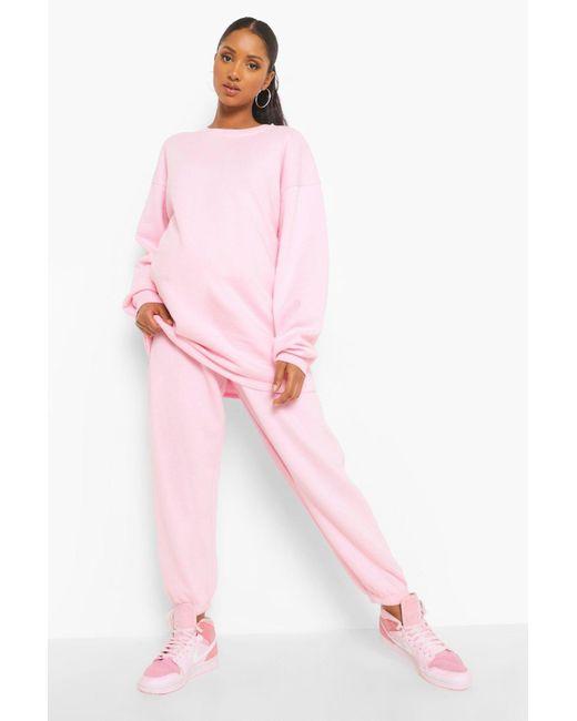 Conjunto Cómodo De Pantalones De Correr Y Cuello Redondo Premamá Boohoo de color Pink