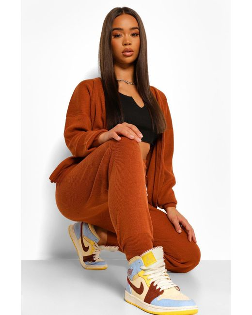 Boohoo Brown Zip Up Knitted Tracksuit