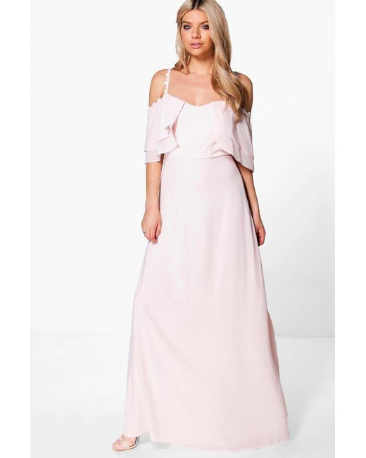 Boohoo | Pink Boutique Cicely Chiffon Frill Maxi Dress | Lyst