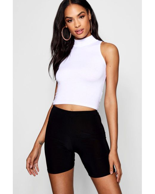 Boohoo White Tall High Neck Crop Top