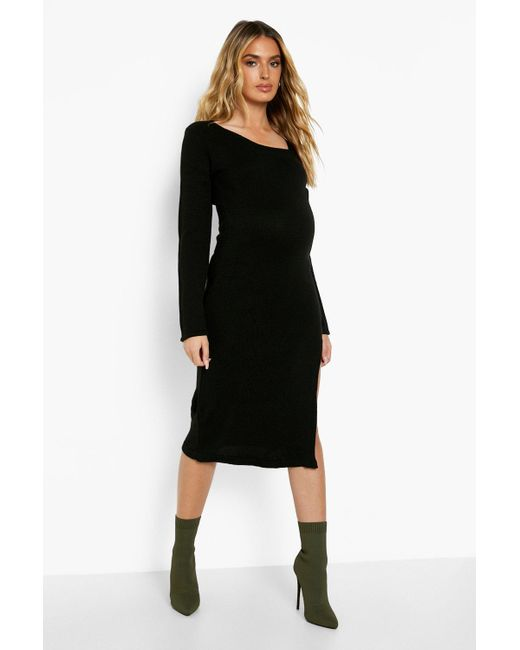 Maternity Knit Side Split Midi Dress Boohoo de color Black