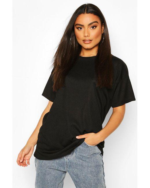 Boohoo Black Ribbed Oversized T-shirt