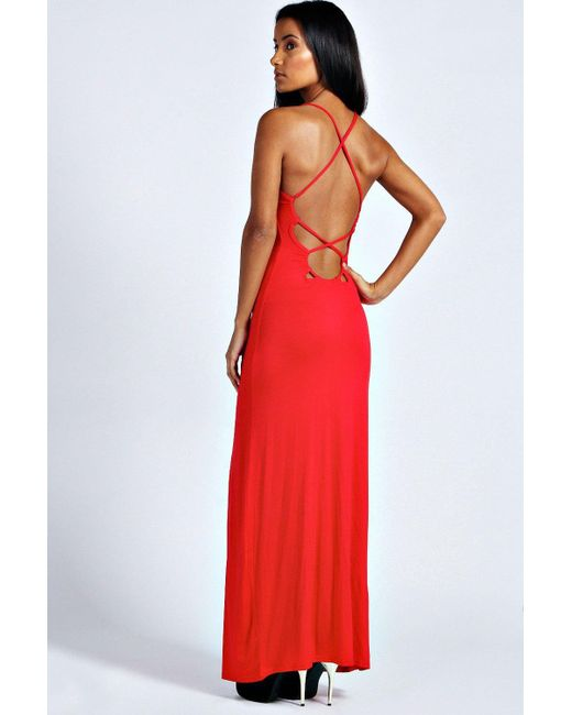 Boohoo | Red Tilly Strappy Back Detail Maxi Dress | Lyst