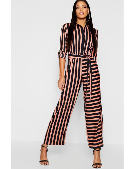 612b8829df Boohoo - Black Stripe Shirt Jumpsuit - Lyst ...