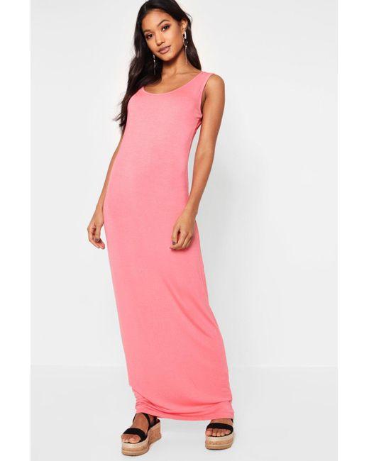 Boohoo - Red Sandy Scoop Neck Maxi Dress - Lyst