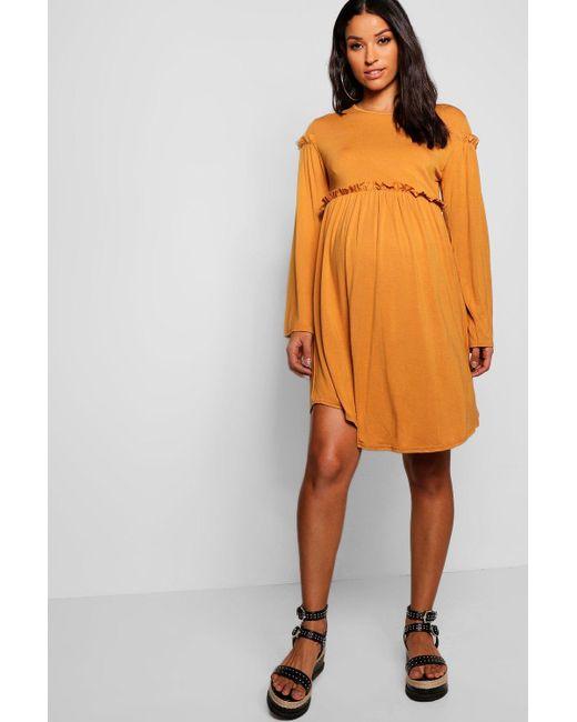 42c9b6c7668 Boohoo - Orange Maternity Long Sleeve Smock Dress - Lyst ...