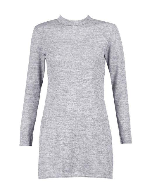 Boohoo Gray Petite Amy High Neck Soft Knit Side Split Tunic