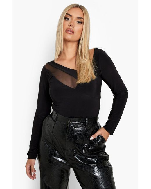 Boohoo Black Plus Double Slinky Mesh Cut Out Bodysuit