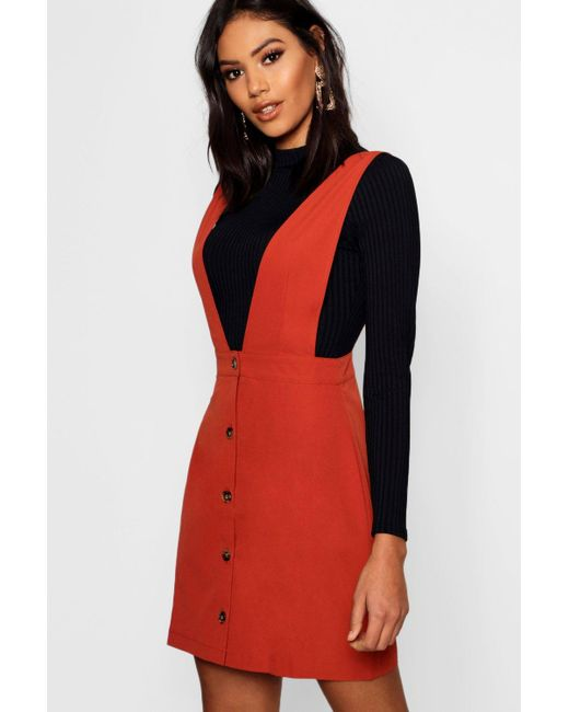 a1db6c8b7f Boohoo - Red Plunge Front Button Pinafore Dress - Lyst ...