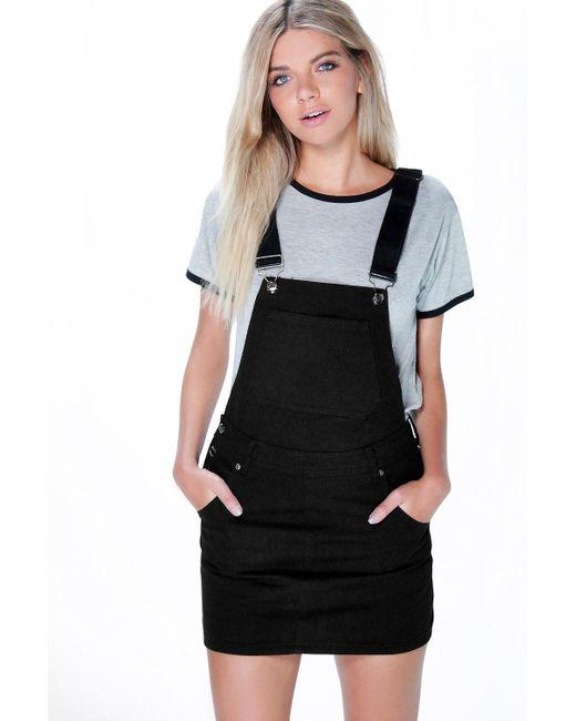 0c61b511710 Boohoo - Black Denim Dungaree Pinafore Dress - Lyst ...