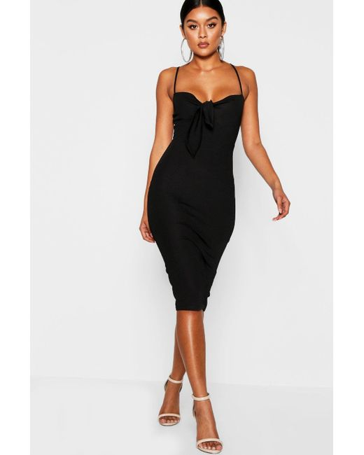 Boohoo Black Skinny Strap Tie Front Midi Dress