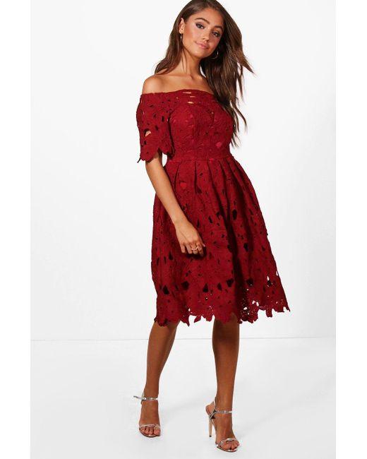 7938011da0f1 Boohoo - Red Boutique Off Shoulder Lace Skater Dress - Lyst ...