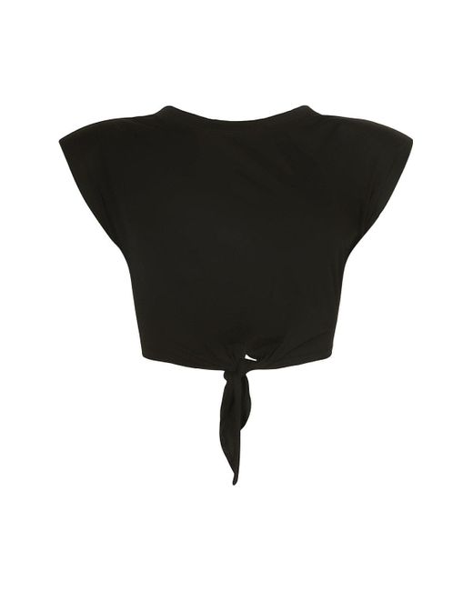 Boohoo Black Padded Shoulder Tie Front Crop Tee