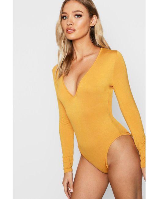 c13cfb104f Boohoo - Multicolor Basic Plunge Long Sleeve Bodysuit - Lyst ...