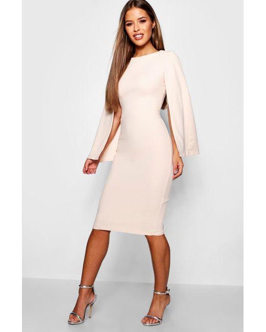 Boohoo Natural Petite Cape Sleeve Midi Dress