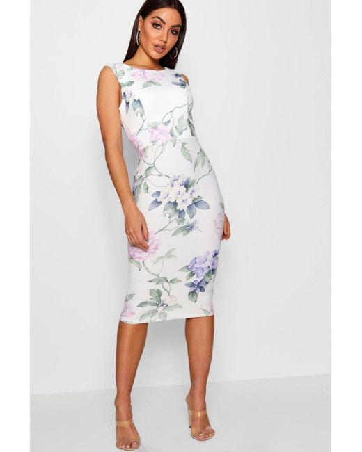 Boohoo - Multicolor Floral Open Back Detail Midi Dress - Lyst ... dfe7cd31e