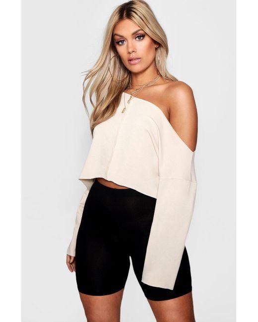 Boohoo - Multicolor Plus Off Shoulder Tonal Sweater - Lyst