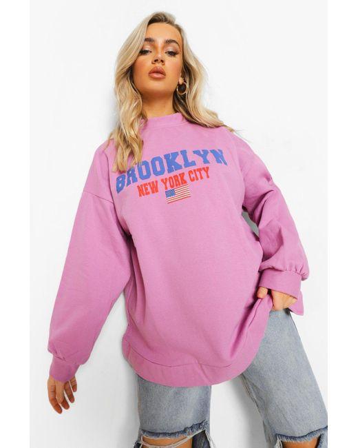 """Boohoo Purple Womens Crop Sweatshirt Mit """"Brooklyn""""-Slogan"""