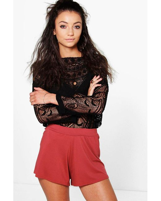 Boohoo - Red Tall Basic Oversized Flippy Shorts - Lyst