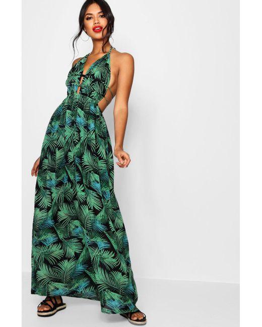 320d16c151ab Boohoo - Green Tall Plunge Front Palm Print Maxi Dress - Lyst ...