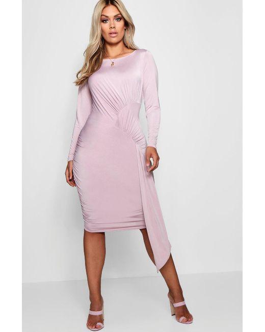 Boohoo - Purple Plus Layla Slinky Tie Front Mini Dress - Lyst