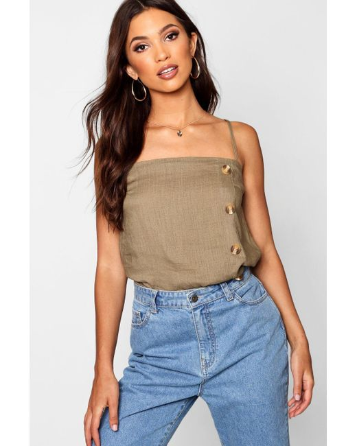 1ff931ef38 Boohoo - Natural Tort Horn Button Detail Square Neck Cami - Lyst ...