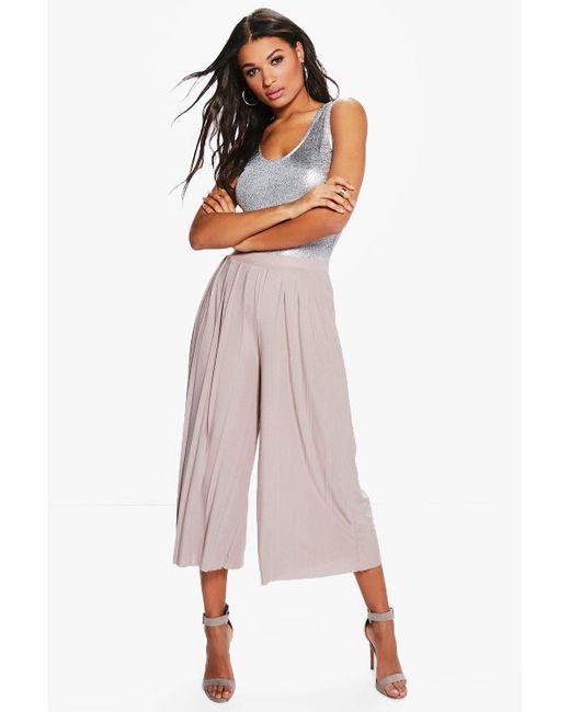 Boohoo Multicolor Slinky Pleated Wide Leg Cropped Pants