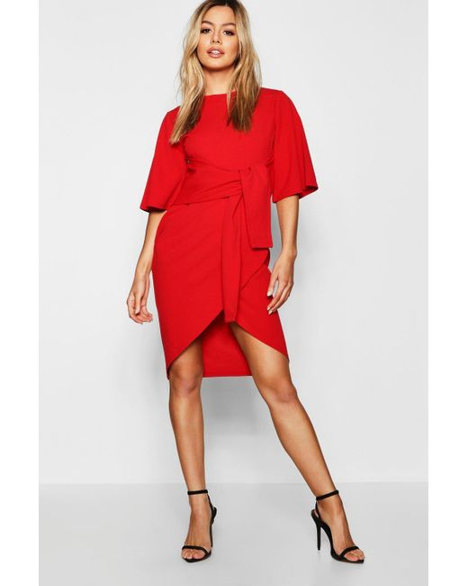 99ffcbba2b80 Boohoo - Red Petite Kimono Wrap Over Midi Dress - Lyst ...