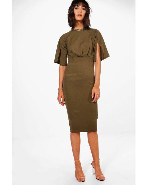 Boohoo - Green Split Sleeve Detail Wiggle Midi Dress - Lyst