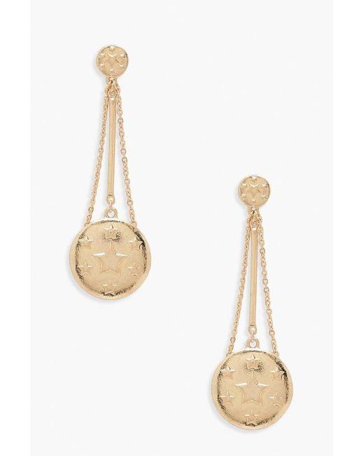Boohoo - Metallic Star Coin Drop Earrings - Lyst