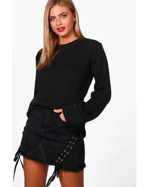 Boohoo - Black Hannah Wide Maxi Sleeve Rib Knit Jumper - Lyst