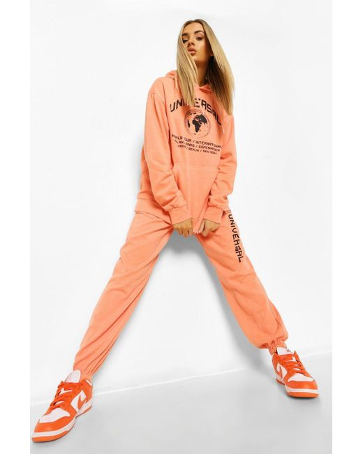 Boohoo Orange Universal Acid Wash Slogan Loose Fit Joggers