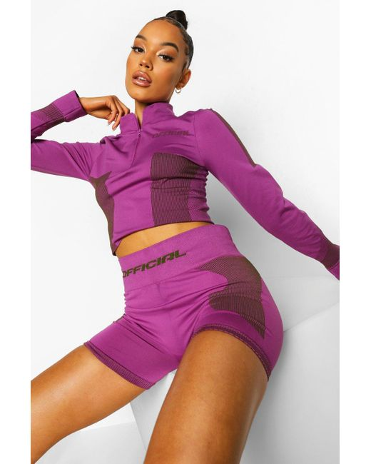 Boohoo Purple Womens Ofcl Seamfree Contour Half Zip Top