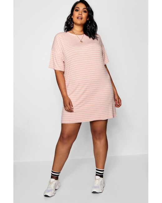 Boohoo Pink Plus Jersey Stripe T Shirt Dress Lyst