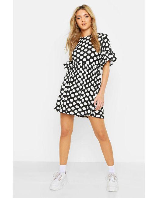 7a3a6e9ddee76 Boohoo - Black Spot Print Smock Dress - Lyst ...
